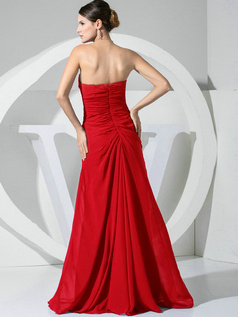 A-line Chiffon Floor Length Ruched Red Bridesmaid Dresses with Flowers