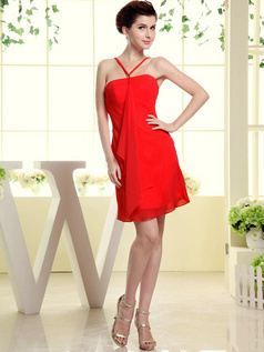 Sheath Chiffon Tube Top Spaghetti Straps Ruffle Short Red Bridesmaid Dresses