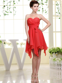 A-line Chiffon Sweetheart Bowknot Short Red Bridesmaid Dresses