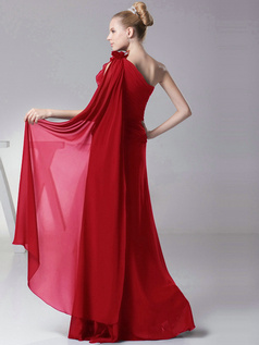 Column One shoulder with Flowers Floor Length Red Bridesmaid Dresses