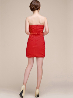 Sheath Ruched Tube Top Strapless Short Red Bridesmaid Dresses