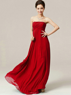 A-Line Floor Length Wrap Pleats Strapless Draped Red Bridesmaid Dresses