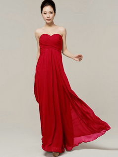 Column Sweetheart Floor Length Strapless Draped Red Bridesmaid Dresses