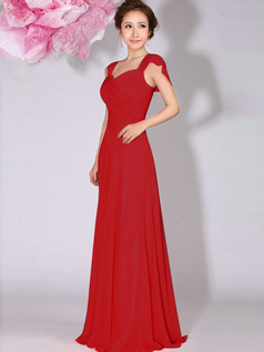 A-Line Sweetheart Straps Draped Floor Length Red Bridesmaid Dresses
