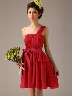 A-Line One Shoulder Bowknot Sash Red Pleats Short Bridesmaid Dresses