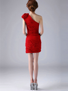 Sheath One Shoulder with Flower Short Ruched Red Bridesmaid Dresses