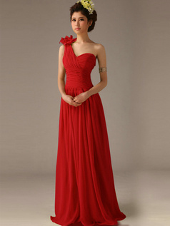A-Line One Shoulder with Flower Floor Length Wrap Pleats Red Bridesmaid Dresses