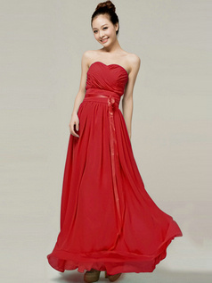 Column Sweetheart Strapless Ribbons Floor Length Red Bridesmaid Dresses