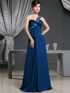A-line Chiffon One Shoulder with Flowers Sweep Train Royal Blue Bridesmaid Dresses
