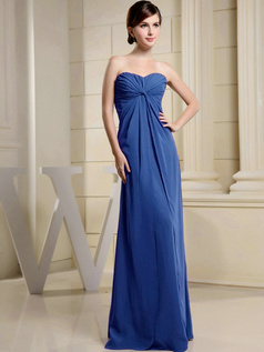 Column Chiffon Ruched Sweetheart Floor-length Royal Blue Bridesmaid Dresses
