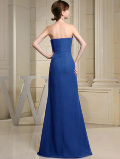 Column Chiffon Sweetheart Floor-length Ruched Royal Blue Bridesmaid Dresses