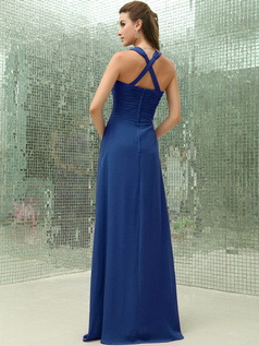 Column Chiffon V-neck Floor-length Ruched Royal Blue Bridesmaid Dresses with Cross Straps