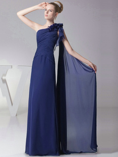 Column One shoulder with Flowers Floor Length Royal Blue Bridesmaid Dresses