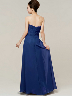 Column Sweetheart Floor Length Strapless Draped Royal Blue Bridesmaid Dresses
