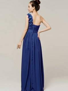 A-Line Sweetheart One shoulder with Flowers Wrap Pleats Royal Blue Bridesmaid Dresses