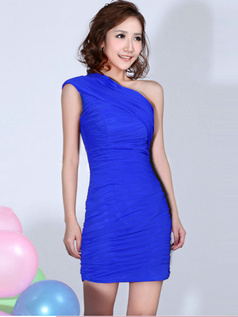 Sheath One Shoulder Ruched Short Royal Blue Bridesmaid Dresses