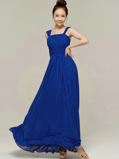Column Tube Top Straps Floor length Ruched Royal Blue Bridesmaid Dresses