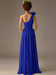 A-Line One Shoulder with Flower Floor Length Wrap Pleats Royal Blue Bridesmaid Dresses