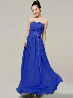 Column Sweetheart Strapless Ribbons Floor Length Royal Blue Bridesmaid Dresses