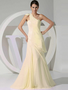 A-line Chiffon One Shoulder Tiered Draped Daffodil Bridesmaid Dresses