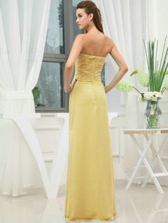 Column Chiffon Sweetheart Floor-length Wrap Pleats Daffodil Bridesmaid Dresses