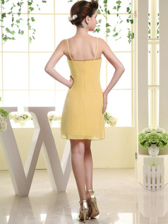 Sheath Chiffon Tube Top Spaghetti Straps Ruffle Short Daffodil Bridesmaid Dresses