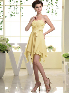 A-line Chiffon Sweetheart Bowknot Short Daffodil Bridesmaid Dresses