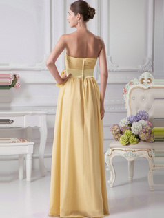 A-Line Chiffon Floor Length Tube Top Ruffle Sashes Daffodil Bridesmaid Dresses