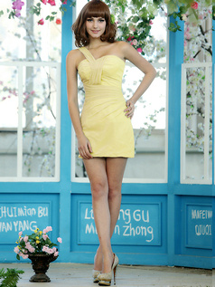Sexy Sensation Sheath Chiffon One shoulder Short Draped Daffodil Bridesmaid Dresses