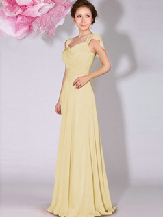 A-Line Sweetheart Straps Draped Floor Length Daffodil Bridesmaid Dresses
