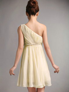 A-Line One Shoulder Draped Short Daffodil Bridesmaid Dresses