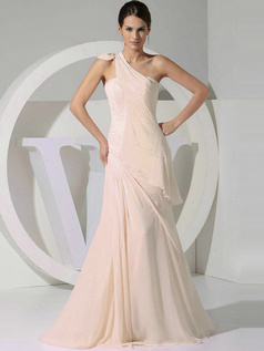 A-line Chiffon One Shoulder Tiered Draped Champagne Bridesmaid Dresses