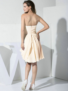 A-line Chiffon Sweetheart Ruffles Wrap Pleats Champagne Bridesmaid Dresses