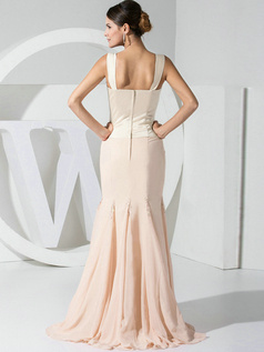 Mermaid Chiffon Straps Champagne Bridesmaid Dresses