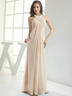 Column Chiffon Halter Floor-length Pleats Champagne Bridesmaid Dresses