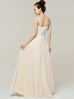 Column Floor Length Spaghetti Straps Draped Champagne Bridesmaid Dresses