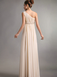 A-Line One Shoulder Floor Length Draped Champagne Bridesmaid Dresses