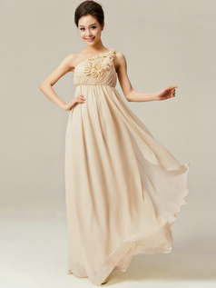 A-Line Floor Length One Shoulder Flowers Champagne Bridesmaid Dresses