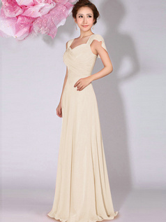 A-Line Sweetheart Straps Draped Floor Length Champagne Bridesmaid Dresses