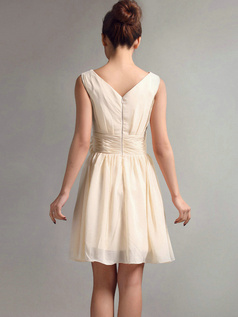A-Line V-neck Straps Flower Sash Draped Short Champagne Bridesmaid Dresses