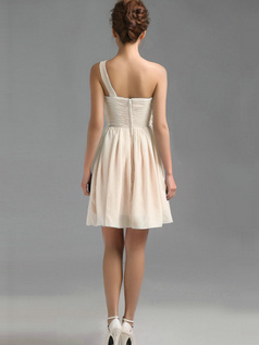 A-Line One Shoulder Falbala Short Draped Bridesmaid Dresses