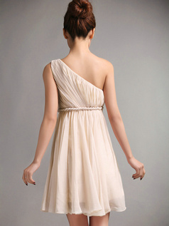 A-Line One Shoulder Draped Short Champagne Bridesmaid Dresses