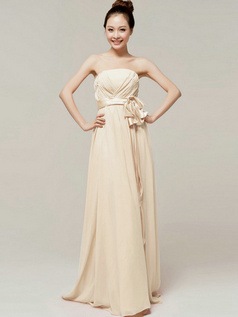 Noble A-Line Floor Length Wrap Pleats Tube Top Strapless Sashes Champagne Bridesmaid Dresses