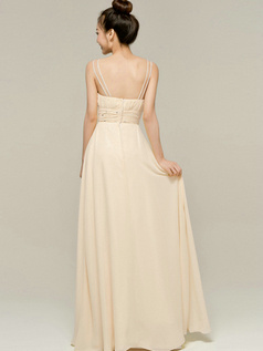 Column Floor Length Spaghetti Straps V Neck Draped Champagne Bridesmaid Dresses