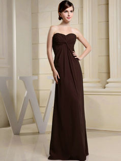 Column Chiffon Ruched Sweetheart Floor-length Chocolate Bridesmaid Dresses