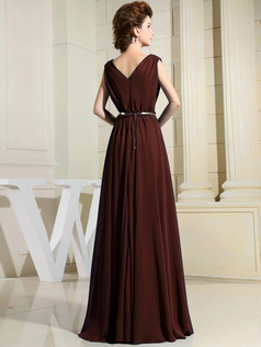 Column Chiffon V-neck Floor-length Draped Chocolate Bridesmaid Dresses
