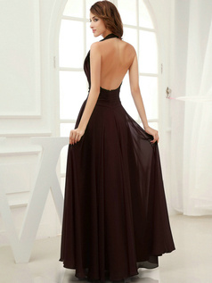 Column Chiffon Halter Floor-length Draped Chocolate Bridesmaid Dresses