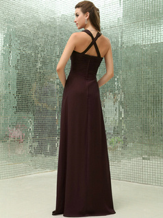 Column Chiffon V-neck Floor-length Ruched Chocolate Bridesmaid Dresses with Cross Straps