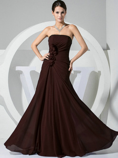 A-line Chiffon Floor Length Ruched Chocolate Bridesmaid Dresses with Flowers