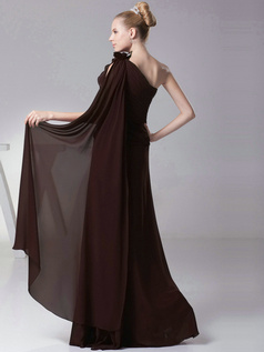 Column One shoulder with Flowers Floor Length Chocolate Bridesmaid Dresses